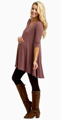 Stay stylishly warm this season in this button accent thermal maternity top. A lightweight thermal material to keep you cozy and a flowy fit to keep you comfortable. You can style this maternity thermal top with maternity leggings, boots, and a long neckl Cute Maternity Outfits, Maternity Leggings, Stylish Maternity, Maternity Wear, Maternity Tops, Maternity Fashion, Maternity Dresses, Maternity Clothing, Maternity Styles