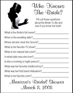 WHO KNOWS THE BRIDE Bridal Shower Game
