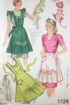 This Mccall's vintage apron pattern offers instructions for a half-apron and full apron.