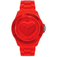 ICE Watch 'Ice-Love' Silicone Bracelet Watch, 43 mm Red ($109) ❤ liked on Polyvore featuring jewelry, watches, bracelets, accessories, relojes, red watches, red jewelry, bracelet watches, sporty watches and dial watches