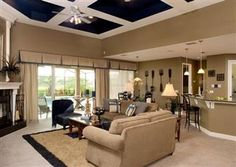 LOVE the ceiling treatment with the cutouts painted navy blue.