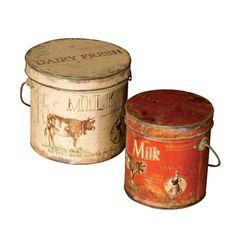 ACHICA   Set de 2 latas redondas con tapa Dairy