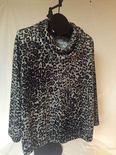 Womens 16W 1X Top Cowl Neck Grey Leopard Print Velour #WhiteStag #CowlNeck