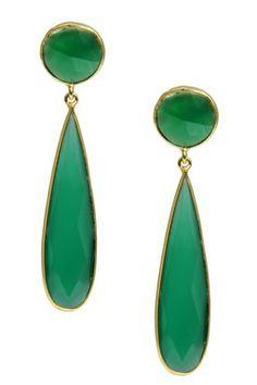 Saachi 18K Gold Clad Green Onyx Long Double Drop Earrings