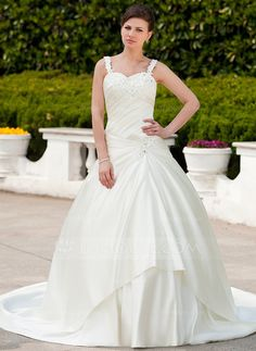 Wedding Dresses - $209.69 - Ball-Gown Sweetheart Chapel Train Satin Wedding Dress With Ruffle Beading Appliques Lace (002011659) http://jjshouse.com/Ball-Gown-Sweetheart-Chapel-Train-Satin-Wedding-Dress-With-Ruffle-Beading-Appliques-Lace-002011659-g11659