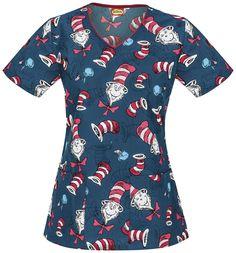 Scrubs - Cherokee Tooniforms 100% Cotton Hat Toss Contrast Scrub Top   Cherokee Tooniforms Scrubs   Cherokee Scrubs   www.LydiasUniforms.com