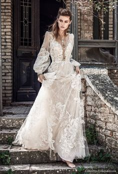 christos costarellos spring 2018 bridal long bishop sleeves v neck full lace embellishment bohemian elegant a line wedding dress (70) mv -- Costarellos Spring 2018 Wedding Dresses