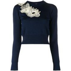 Roksanda Nobuya floral applique jumper ($775) ❤ liked on Polyvore featuring tops, sweaters, blue, blue jumper, blue sweater, blue cropped sweater, cropped sweater and floral tops