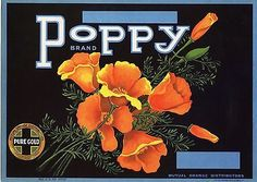 Lemon Crate Label Scarce Poppy Floral Flowers Vintage Original 1940 Advertising