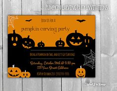 Halloween Pumpkin Carving Party Invitations by MudPieSoup on Etsy