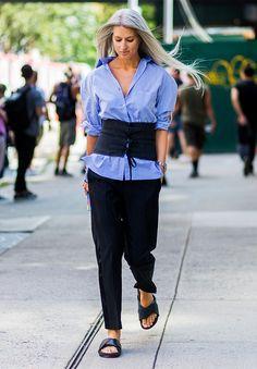 obi belt over shirt . The Latest Street Style From New York Fashion Week via @WhoWhatWearUK