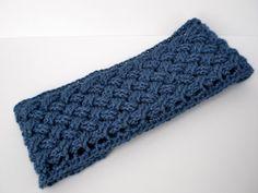 Blue Crochet Earwarmer  November Frost by BarefootDesignsShop