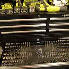 """Check out this project on RYOBI Nation - This custom socket drawer was made to solve a very unique problem, how to fit 229 Husky sockets (from the 432 Pc Husky Mechanics tool set) into the 41"""" Husky tool box's wide drawer. The socket sets exceeded most standard socket organizer's range, especially with regards to the 3/8"""" drive metric set so the magnetic base was conceived to keep each set intact an in a single row. The idea is simple, and applicable to any socket set and tool box with ..."""
