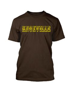 4ac8b2d33 This heather brown, tri-blend t-shirt with cream colored ink says  KNOXVILLE. Available in sizes S-XXL for $24.95. Nothing Too Fancy