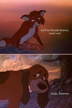 Always always always cry at this film. Saddest Disney film ever - The Fox And The Hound Arte Disney, Disney Magic, Disney And Dreamworks, Disney Pixar, Dreamworks Movies, Cartoon Movies, Disney Channel, The Big Hero, Movie 21