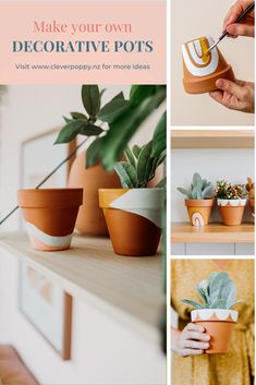 These Painted Terracotta Pots make a cute DIY Gift! — Clever Poppy These Painted Terracotta Pots mak Painted Plant Pots, Painted Flower Pots, Painting Terracotta Pots, Terracotta Plant Pots, Fleurs Diy, Diy Casa, Diy Art Projects, Garden Projects, Garden Ideas