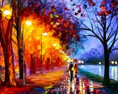 """""""Alley by the Lake"""" is a not just a painting of Leonid Afremov. It provides contemporary art explanation that determines our life and our future. Favorite things can make people happy and this painting can become one of such things. Love Painting, Oil Painting On Canvas, Painting Wallpaper, Canvas Paintings, Canvas Artwork, Watercolor Painting, Wall Canvas, Landscape Paintings, Forest Painting"""