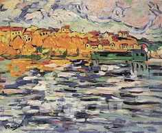 Houses on the Banks of the Seine at Chatou c1906 - Maurice de Vlaminck reproduction oil painting