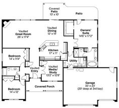 First Floor Plan of Contemporary European Ranch House Plan 59701 ~ familyhomeplans - Very Pinteresting - Google+