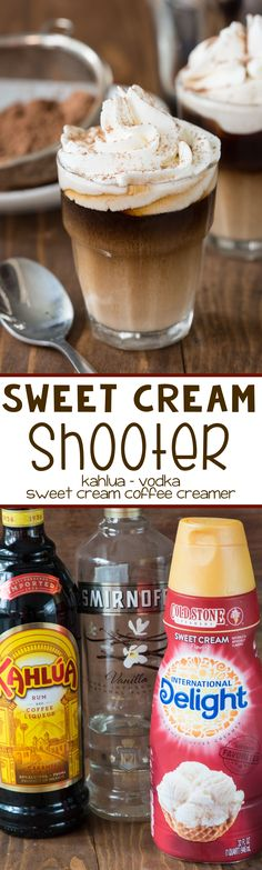Sweet Cream Shooter - this is the perfect after dinner drink recipe! Only 3 ingredients it's great for dessert! I'd have to switch out the kahlua for something else since I don't like coffee but would still be good! Dessert Shooters, Dessert Drinks, Yummy Drinks, Fun Drinks, Yummy Food, Beverages, Fun Cocktails, Mixed Drinks, Drinks Alcohol Recipes