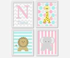 Personalized Baby Nursery Wall Art Elephants Pink Aqua Gray Elephant Giraffe Chevron Polka Dots LOVE Print Baby Girl Nursery Art Toddler Girl Prints Home Decor Baby Nursery Decor Safari Jungle Animals