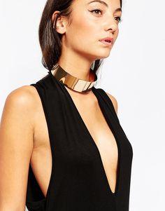 ALDO | ALDO Crotonea Gold Metal Choker Necklace at ASOS
