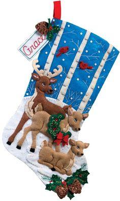 Black bear bonfire bucilla christmas stocking kit projects bucilla deer family christmas stocking felt applique christmas christmas stockingsdo it yourselfchristmas boots solutioingenieria Images