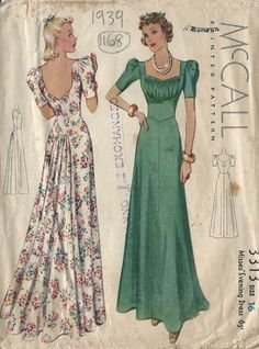 1939 Vintage Sewing Pattern EVENING DRESS B34 (1168) #McCall