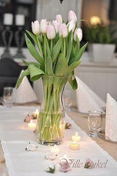 Ville vinkel: Borddekking Decking, Glass Vase, Centerpieces, Table Settings, Simple, Green, Home Decor, Mesas, Flowers