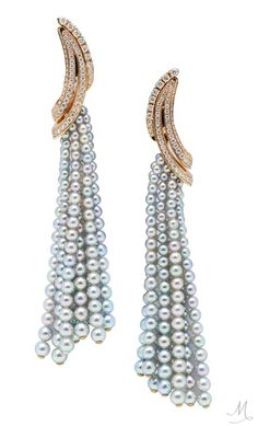 Rose gold and diamond curves sit atop strands of Akoya pearls on this pair of Qayten Twist earrings