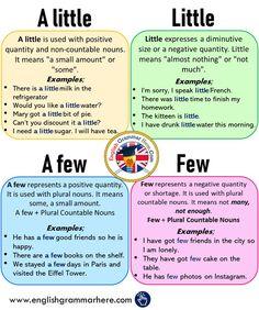 Using A little - Little - A few - Few and Example Sentences - English Grammar Here English Grammar Tenses, Teaching English Grammar, English Verbs, English Sentences, English Phrases, English Language Learning, English English, Teaching Spanish, French Language