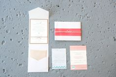 Pink and Aqua beach wedding invitation by declarationboutique.com photo by agneslopez.com