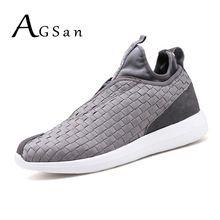 AGSan 2017 formadores para os homens de alta top confortável azul escuro dos homens walking shoes lace up respirável calçado preto cinza ao ar livre(China (Mainland))
