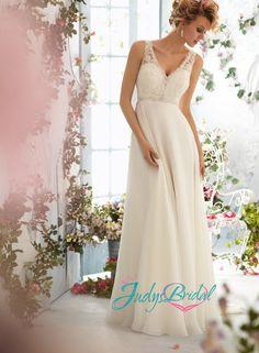 JW14314 strappy v neck lace open back chiffon wedding dress