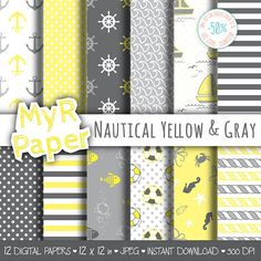 "Digital Paper Pack: ""Nautical Yellow & Gray"" #patterns and backgrounds with anchor, rudder, sailboat, fish, seawaves. Digital Scrapbooking  50% OFF ON ORDERS OVER 12 $ (OR N... #design #graphic #digitalpaper #scrapbooking"