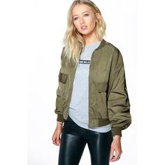 Boohoo Edie MA1 Bomber ($44) ❤ liked on Polyvore featuring outerwear, jackets, khaki, brown biker jacket, brown trench coat, trench coat, kimono jacket and flight jacket