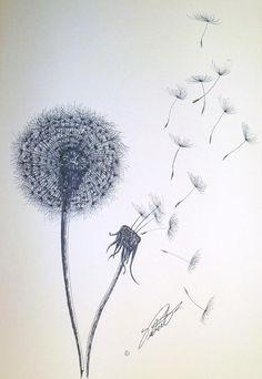 Double Dandelion by Dennis Vebert - Double Dandelion Drawing - Double Dandelion Fine Art Prints and Posters for Sale