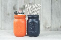 Blue and orange SU painted mason jars.