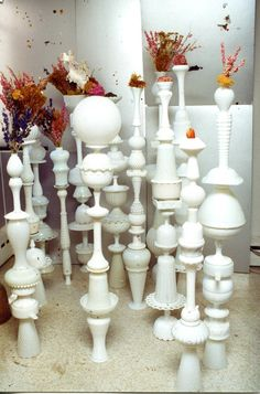 White Glass Totem Poles