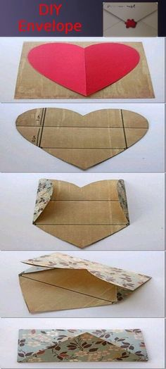 diy envelope- awesome for valentines day! unfold the envelope and it is a valentine Fun Crafts, Diy And Crafts, Arts And Crafts, Homemade Crafts, Envelope Diy, Heart Envelope, Origami Envelope, Diy Paper, Paper Crafts