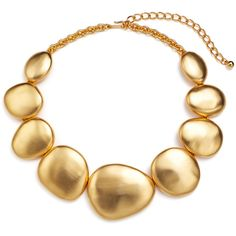 Rental Kenneth Jay Lane Gold Disk Necklace ($45) ❤ liked on Polyvore featuring jewelry, necklaces, gold, adjustable gold necklace, adjustable necklace, gold jewelry, yellow gold jewelry and long necklace