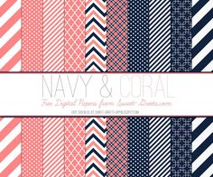 Free Digital Paper Set: Navy and Coral