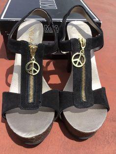M.I.A. Black Suede BOHO Peace Sign Zipper Sandal Heels Hippie 9 M High Platform #MIA #PlatformsWedges