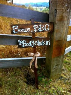 BOOZE BBQ BOOTY Shakin Distressed Rustic Wooden Wedding Reception Decoration Sign with Burlap Bow