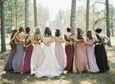 Mismatched earth tone bridesmaid dresses.