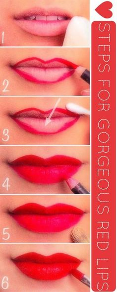 a step by step guide for a classic red lip make-up All Things Beauty, Beauty Make Up, Love Makeup, Makeup Tips, Lip Tips, Beauty Nails, Hair Beauty, Perfect Red Lips, Perfect Lipstick