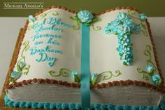 Opened Bible Cake- bet you could do that by cutting a slope in the middle before frosting so u dont have to use a special pan Bible Cake, Religious Cakes, Open Bible, Confirmation Cakes, Raspberry Mousse, Rhubarb Cake, Buttercream Filling, Frosting, Book Cakes