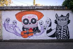 More skull street art / Just north of the city centre, across the highway, is Barrio de Xochimilco, a colourful and quiet residential neighbourhood with lots of street art.