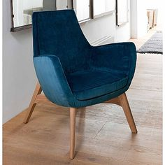 Blue, elegant and modern 'Elly' chair. High quality fabric and wood, beautiful design. My Italian Living