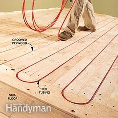 Choose the best infloor heating system. We cover the pros and cons of electric systems and hot water (hydronic) systems for comfort and space heating. Electric are easier and usually cheaper to install. Hydronic are ideal if you already have a boiler. Hydronic Radiant Floor Heating, Hydronic Heating, Underfloor Heating, Grey Vinyl Flooring, Basement Flooring, Flooring Ideas, Flooring Options, Water Heating, Heating And Cooling
